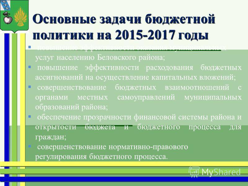 Основные задачи бюджетной политики на 2015-2017 годы Основные задачи бюджетной политики на 2015-2017 годы повышение эффективности оказания муниципальных услуг населению Беловского района; повышение эффективности расходования бюджетных ассигнований на
