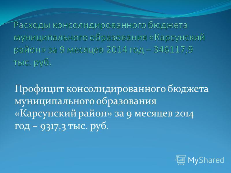 Профицит консолидированного бюджета муниципального образования «Карсунский район» за 9 месяцев 2014 год – 9317,3 тыс. руб.