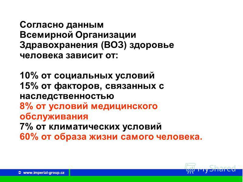 www.imperial-group.cz Согласно данным Всемирной Организации Здравохранения (ВОЗ) здоровье человека зависит от: 10% от социальных условий 15% от факторов, связанных с наследственностью 8% от условий медицинского обслуживания 7% от климатических услови