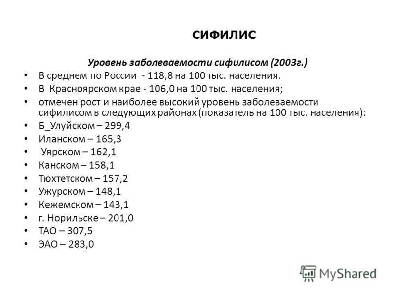 СИФИЛИС Уровень заболеваемости сифилисом (2003 г.) В среднем по России - 118,8 на 100 тыс. населения. В Красноярском крае - 106,0 на 100 тыс. населения; отмечен рост и наиболее высокий уровень заболеваемости сифилисом в следующих районах (показатель