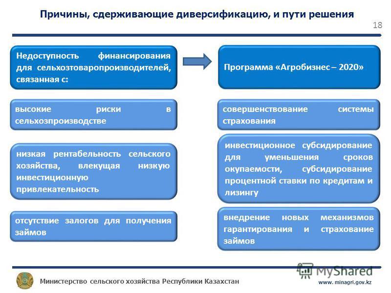Министерство сельского хозяйства Республики Казахстан www. minagri.gov.kz 18 Причины, сдерживающие диверсификацию, и пути решения Недоступность финансирования для сельхозтоваропроизводителей, связанная с: высокие риски в сельхозпроизводстве отсутстви