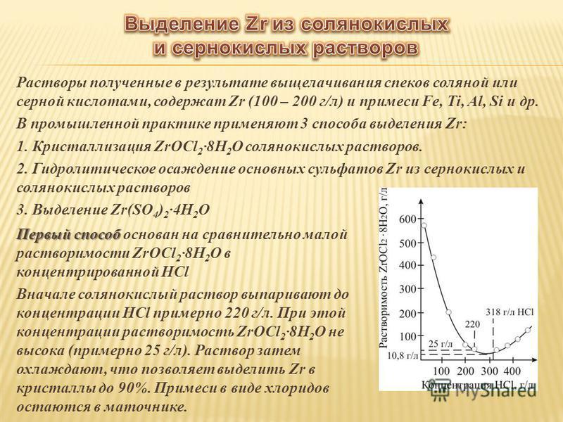 Растворы полученные в результате выщелачивания спехов соляной или серной кислотами, содержат Zr (100 – 200 г/л) и примеси Fe, Ti, Al, Si и др. В промышленной практике применяют 3 способа выделения Zr: 1. Кристаллизация ZrOCl 2 ·8H 2 O солянокислых ра