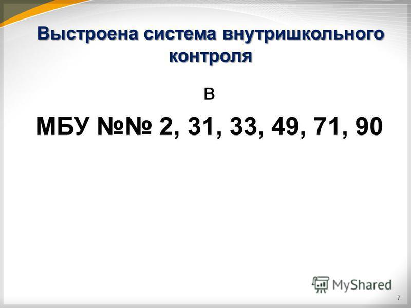 Выстроена система внутришкольного контроля в МБУ 2, 31, 33, 49, 71, 90 7