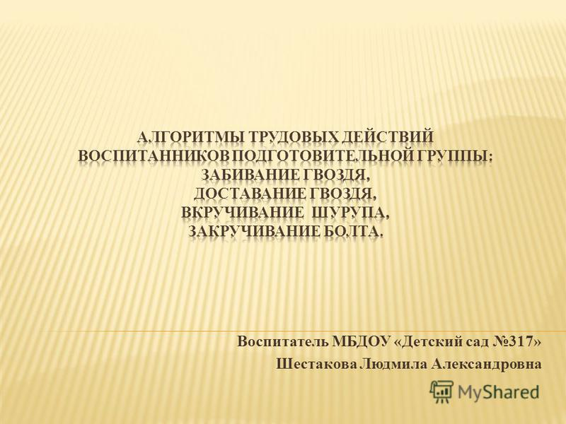 Воспитатель МБДОУ «Детский сад 317» Шестакова Людмила Александровна