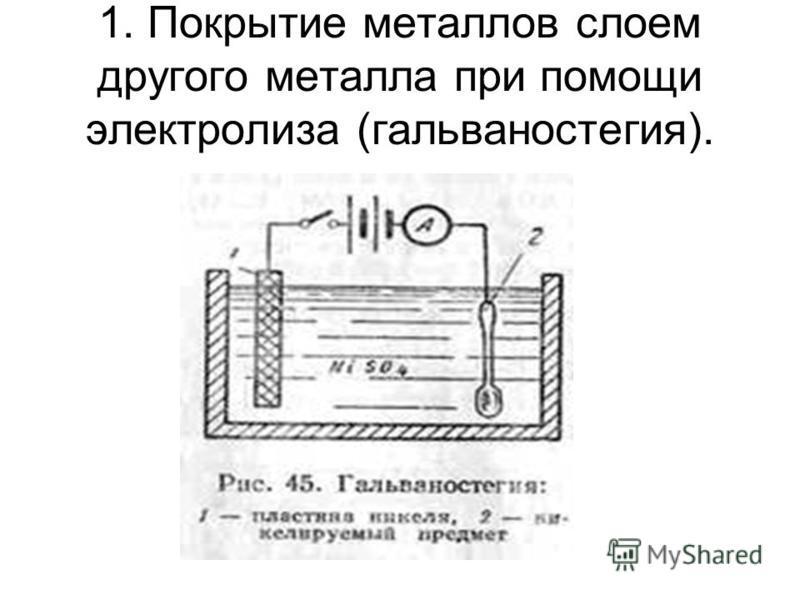 1. Покрытие металлов слоем другого металла при помощи электролиза (гальваностегия).