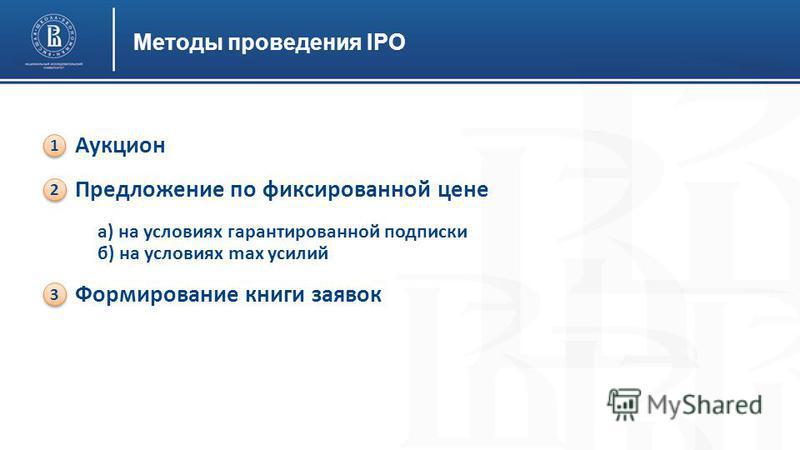 Методы проведения IPO Аукцион Предложение по фиксированной цене а) на условиях гарантированной подписки б) на условиях max усилий Формирование книги заявок 1 1 2 2 3 3
