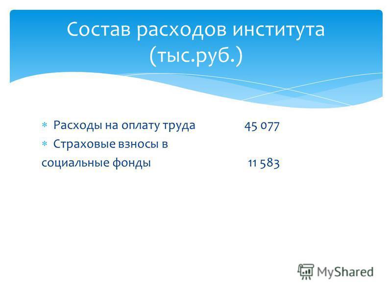 Расходы на оплату труда 45 077 Страховые взносы в социальные фонды 11 583 Состав расходов института (тыс.руб.)