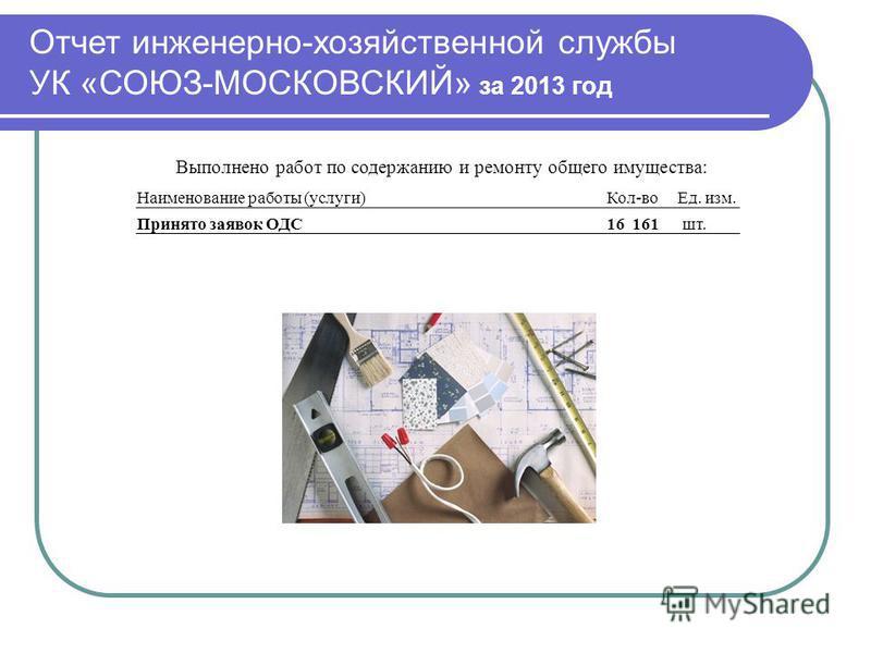 Отчет инженерно-хозяйственной службы УК «СОЮЗ-МОСКОВСКИЙ» за 2013 год Выполнено работ по содержанию и ремонту общего имущества: Наименование работы (услуги)Кол-во Ед. изм. Принято заявок ОДС16 161 шт.