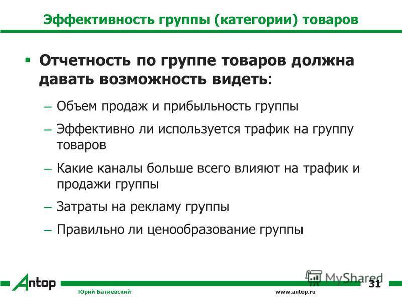 www.antop.ru Эффективность группы (категории) товаров Отчетность по группе товаров должна давать возможность видеть: – Объем продаж и прибыльность группы – Эффективно ли используется трафик на группу товаров – Какие каналы больше всего влияют на траф