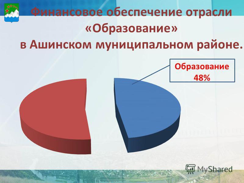 Финансовое обеспечение отрасли «Образование» в Ашинском муниципальном районе. Образование 48%
