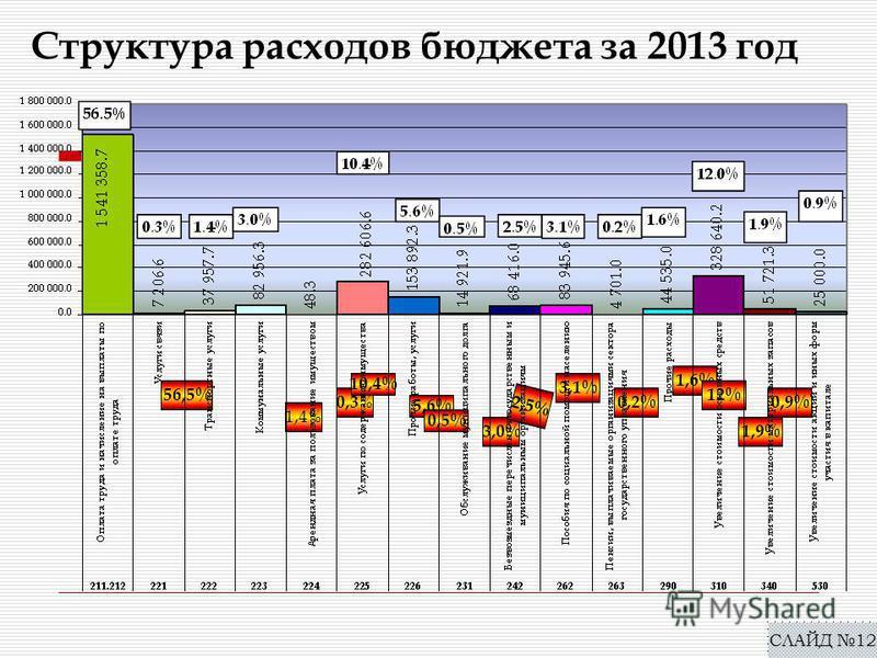 Структура расходов бюджета за 2013 год СЛАЙД 12 56,5% 0,3 % 1,4% 3,0% 10,4% 5,6% 0,5% 2,5% 3,1% 0,2% 1,6% 12% 1,9% 0,9%