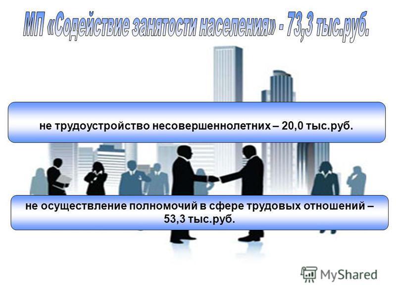 не трудоустройство несовершеннолетних – 20,0 тыс.руб. не осуществление полномочий в сфере трудовых отношений – 53,3 тыс.руб.