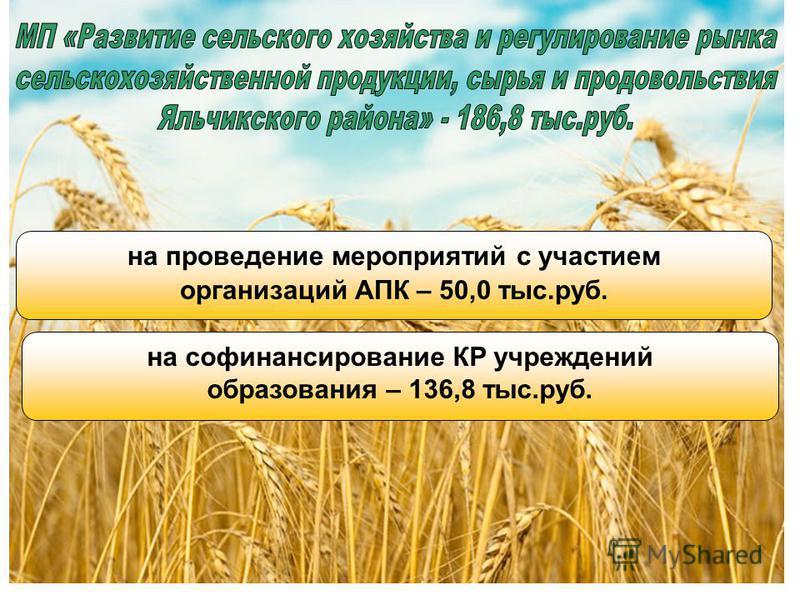 на проведение мероприятий с участием организаций АПК – 50,0 тыс.руб. на софинансирование КР учреждений образования – 136,8 тыс.руб.