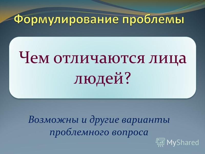 Возможны и другие варианты проблемного вопроса Чем отличаются лица людей?