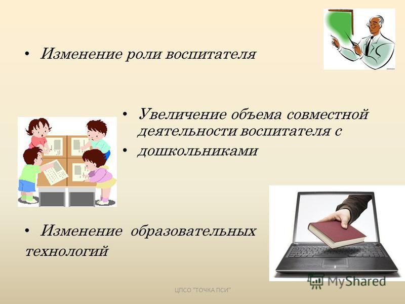 Изменение роли воспитателя Увеличение объема совместной деятельности воспитателя с дошкольниками Изменение образовательных технологий ЦПСО ТОЧКА ПСИ