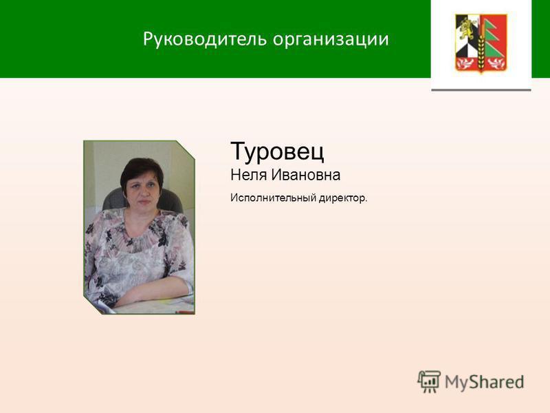 Руководитель организации Туровец Неля Ивановна Исполнительный директор.