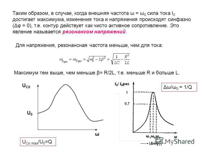 Таким образом, в случае, когда внешняя частота ω = ω 0 сила тока I 0 достигает максимума, изменения тока и напряжения происходят синфазно (Δφ = 0), т.е. контур действует как чисто активное сопротивление. Это явление называется резонансом напряжений.