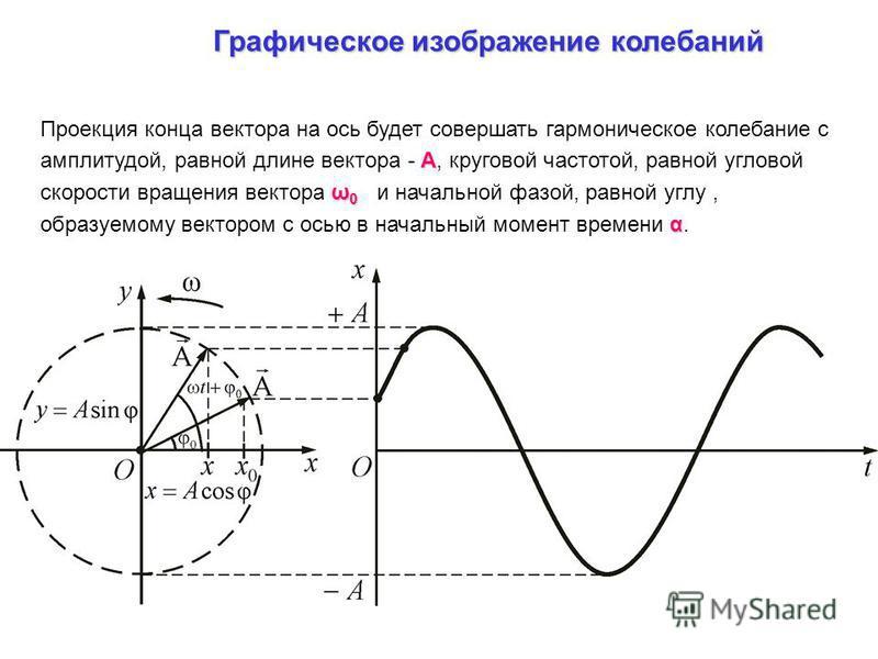 Графическое изображение колебаний А ω 0 α Проекция конца вектора на ось будет совершать гармоническое колебание с амплитудой, равной длине вектора - А, круговой частотой, равной угловой скорости вращения вектора ω 0 и начальной фазой, равной углу, об