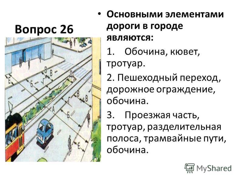 Вопрос 26 Основными элементами дороги в городе являются: 1. Обочина, кювет, тротуар. 2. Пешеходный переход, дорожное ограждение, обочина. 3. Проезжая часть, тротуар, разделительная полоса, трамвайные пути, обочина.