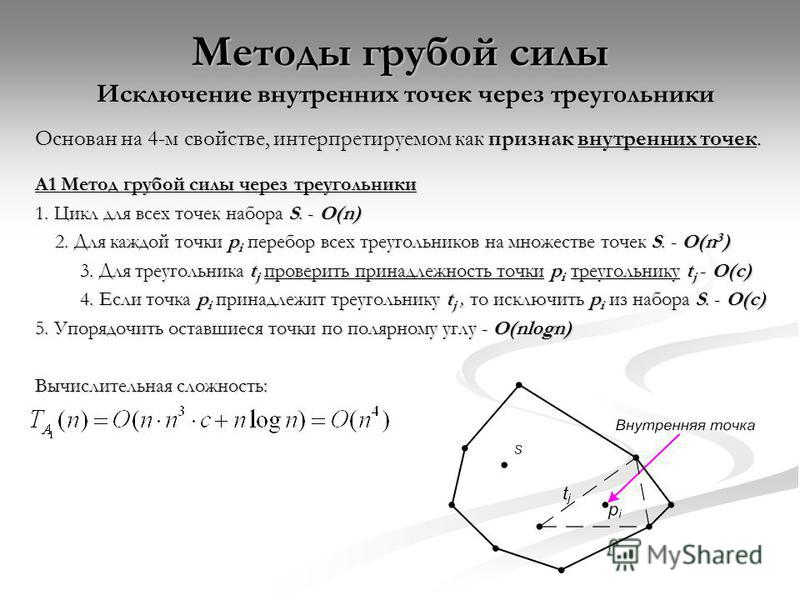 Методы грубой силы Исключение внутренних точек через треугольники Основан на 4-м свойстве, интерпретируемом как признак внутренних точек. A1 Метод грубой силы через треугольники 1. Цикл для всех точек набора S. - O(n) 2. Для каждой точки p i перебор