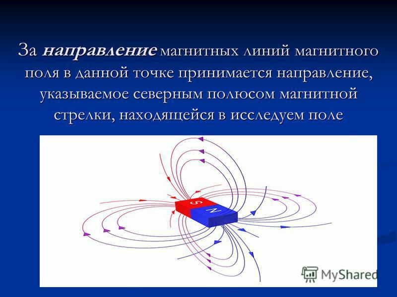 За направление магнитных линий магнитного поля в данной точке принимается направление, указываемое северным полюсом магнитной стрелки, находящейся в исследуем поле За направление магнитных линий магнитного поля в данной точке принимается направление,