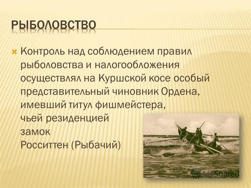 Контроль над соблюдением правил рыболовства и налогообложения осуществлял на Куршской косе особый представительный чиновник Ордена, имевший титул фишмейстера, чьей резиденцией служил замок Росситтен (Рыбачий)