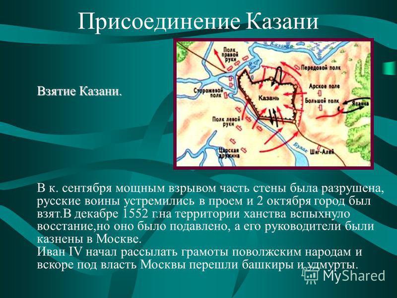Присоединение Казани В к. сентября мощным взрывом часть стены была разрушена, русские воины устремились в проем и 2 октября город был взят.В декабре 1552 г.на территории ханства вспыхнуло восстание,но оно было подавлено, а его руководители были казне