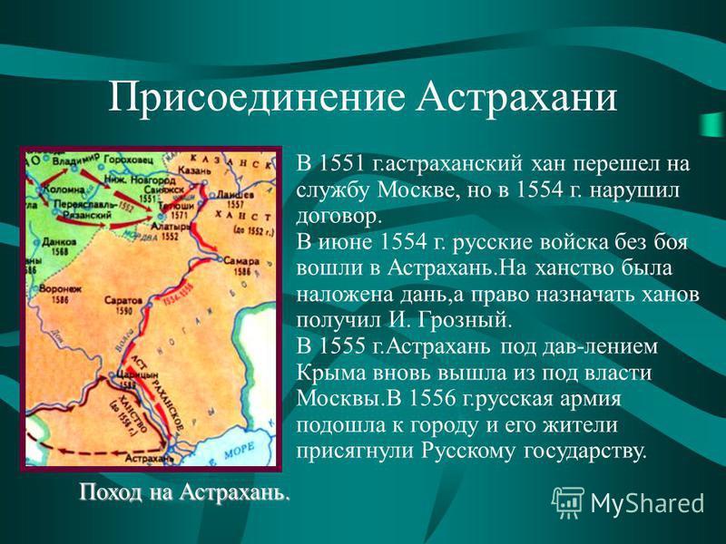 Присоединение Астрахани В 1551 г.астраханский хан перешел на службу Москве, но в 1554 г. нарушил договор. В июне 1554 г. русские войска без боя вошли в Астрахань.На ханство была наложена дань,а право назначать ханов получил И. Грозный. В 1555 г.Астра