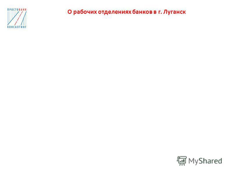 О рабочих отделениях банков в г. Луганск