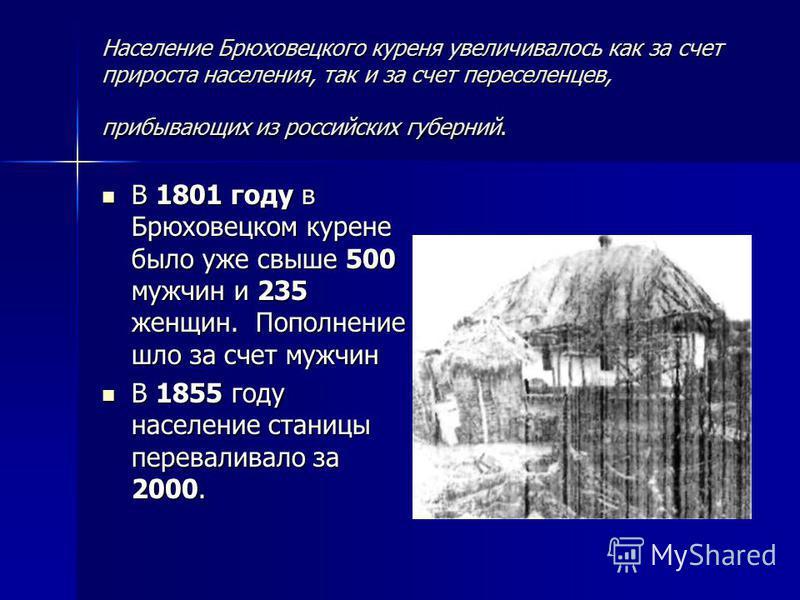 Население Брюховецкого куреня увеличивалось как за счет прироста населения, так и за счет переселенцев, прибывающих из российских губерний. В 1801 году в Брюховецком курене было уже свыше 500 мужчин и 235 женщин. Пополнение шло за счет мужчин В 1801