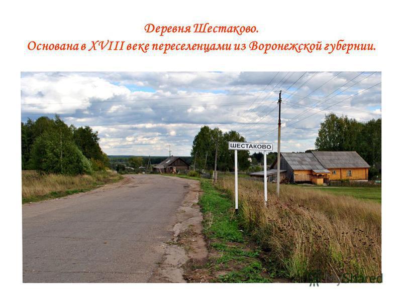 Деревня Шестаково. Основана в XVIII веке переселенцами из Воронежской губернии.