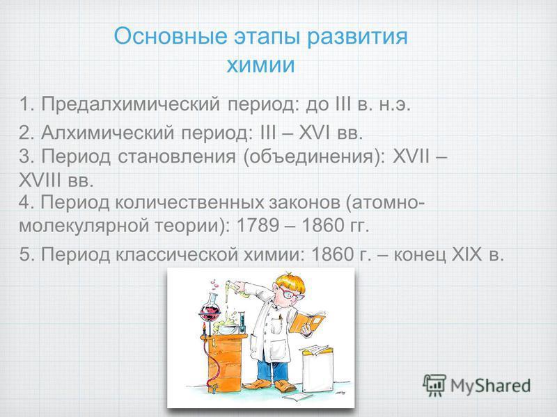 Основные этапы развития химии 1. Предалхимический период: до III в. н.э. 2. Алхимический период: III – XVI вв. 3. Период становления (объединения): XVII – XVIII вв. 4. Период количественных законов (атомно- молекулярной теории): 1789 – 1860 гг. 5. Пе