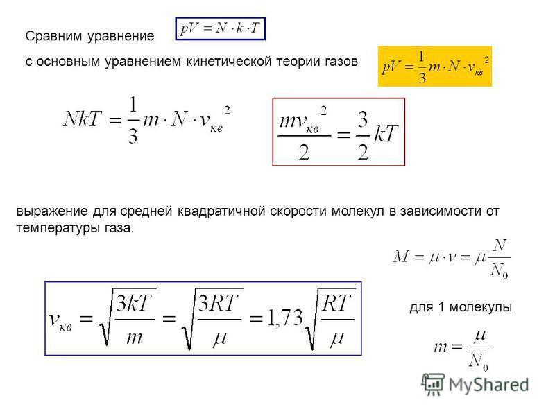 Сравним уравнение с основным уравнением кинетической теории газов выражение для средней квадратичной скорости молекул в зависимости от температуры газа. для 1 молекулы