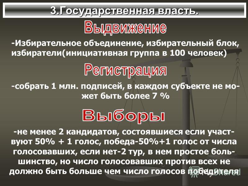 3. Государственная власть. -Избирательное объединение, избирательный блок, избиратели(инициативная группа в 100 человекк) -собрать 1 млн. подписей, в каждом субъекте не может быть более 7 % -не менее 2 кандидатов, состоявшиеся если участвуют 50% + 1