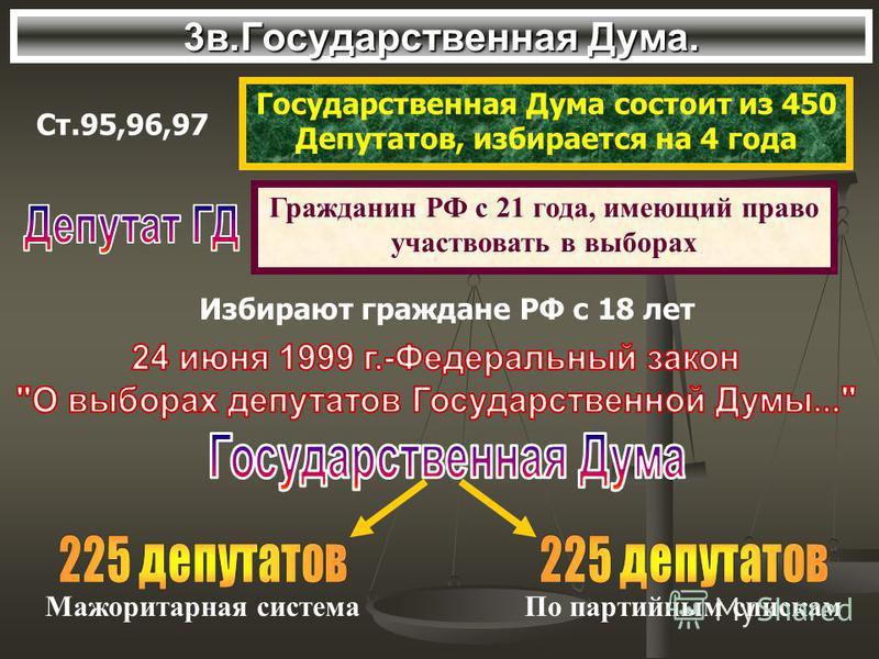3 в.Государственная Дума. Ст.95,96,97 Государственная Дума состоит из 450 Депутатов, избирается на 4 года Гражданин РФ с 21 года, имеющий право участвовать в выборах Избирают граждане РФ с 18 лет Мажоритарная система По партийным спискам
