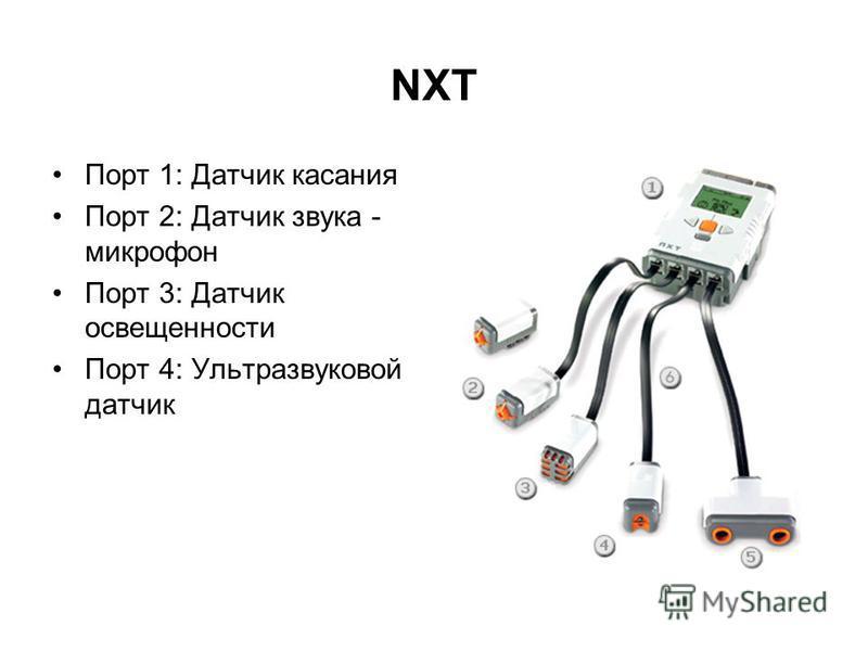 NXT Порт 1: Датчик касания Порт 2: Датчик звука - микрофон Порт 3: Датчик освещенности Порт 4: Ультразвуковой датчик