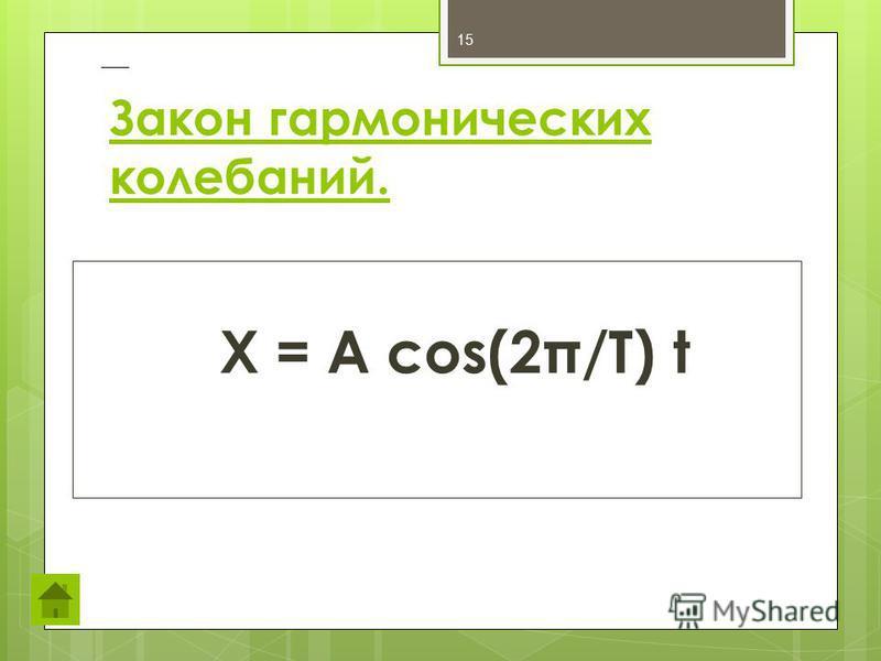 Закон гармонических колебаний. X = A cos(2π/T) t 15