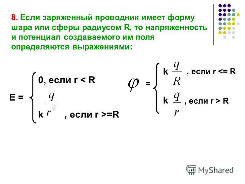 8. 8. Если заряженный проводник имеет форму шара или сферы радиусом R, то напряженность и потенциал создаваемого им поля определяются выражениями: 0, если r < R k, если r >=R Е = k k, если r  R =