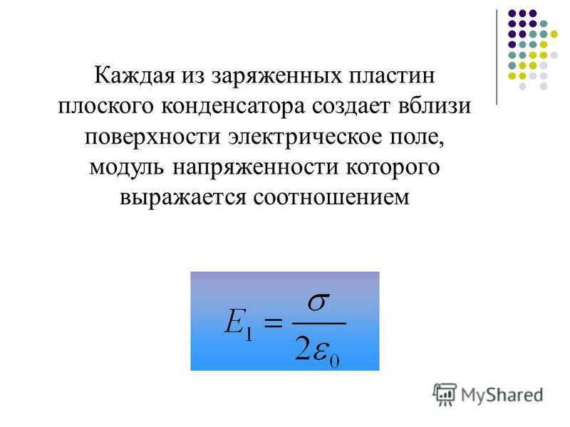 Каждая из заряженных пластин плоского конденсатора создает вблизи поверхности электрическое поле, модуль напряженности которого выражается соотношением