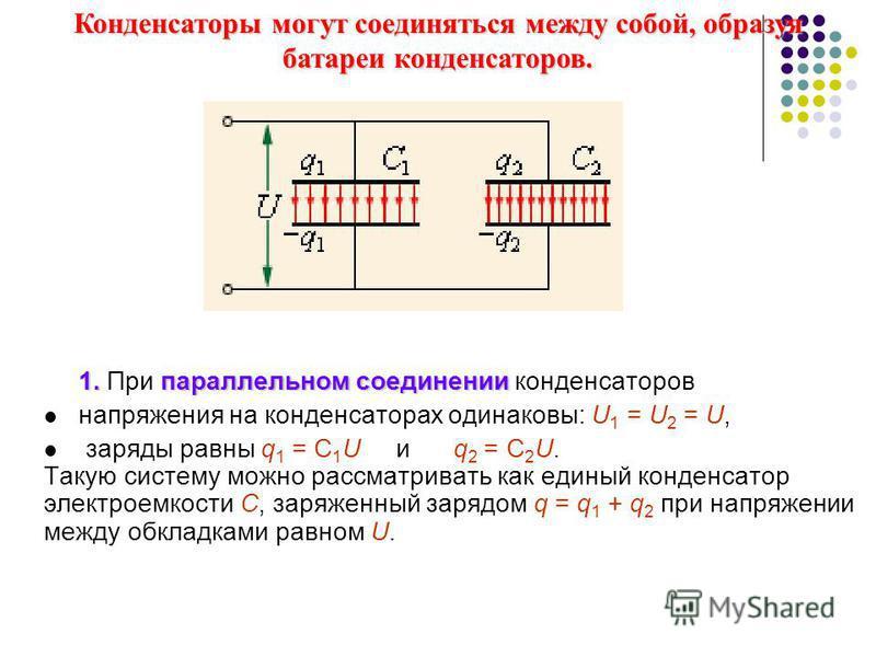 1. параллельном соединении 1. При параллельном соединении конденсаторов напряжения на конденсаторах одинаковы: U 1 = U 2 = U, заряды равны q 1 = С 1 U и q 2 = С 2 U. Такую систему можно рассматривать как единый конденсатор электроемкости C, заряженны