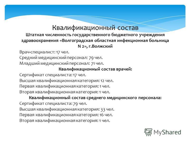 Квалификационный состав Штатная численность государственного бюджетного учреждения здравоохранения «Волгоградская областная инфекционная больница N 2», г.Волжский Врач-специалист: 17 чел. Средний медицинский персонал: 79 чел. Младший медицинский перс