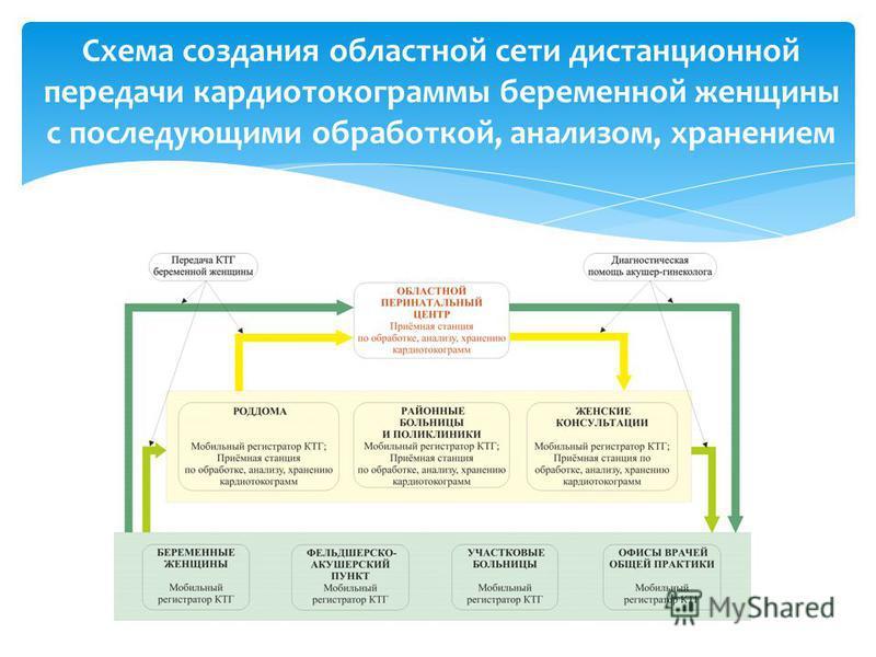Схема создания областной сети дистанционной передачи кардиотахограммы беременной женщины с последующими обработкой, анализом, хранением