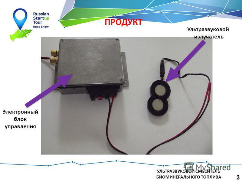 УЛЬТРАЗВУКОВОЙ СМЕСИТЕЛЬ БИОМИНЕРАЛЬНОГО ТОПЛИВА ПРОДУКТ 3 Электронный блок управления Ультразвуковой излучатель