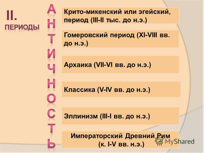 Крито-микенский или эгейский, период (III-II тыс. до н.э.) Гомеровский период (XI-VIII вв. до н.э.) Архаика (VII-VI вв. до н.э.) Классика (V-IV вв. до н.э.) Эллинизм (III-I вв. до н.э.) Императорский Древний Рим (к. I-V вв. н.э.) II.