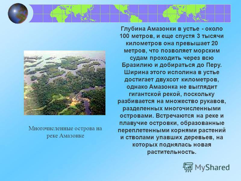 Многочисленные острова на реке Амазонке Глубина Амазонки в устье - около 100 метров, и еще спустя 3 тысячи километров она превышает 20 метров, что позволяет морским судам проходить через всю Бразилию и добираться до Перу. Ширина этого исполина в усть