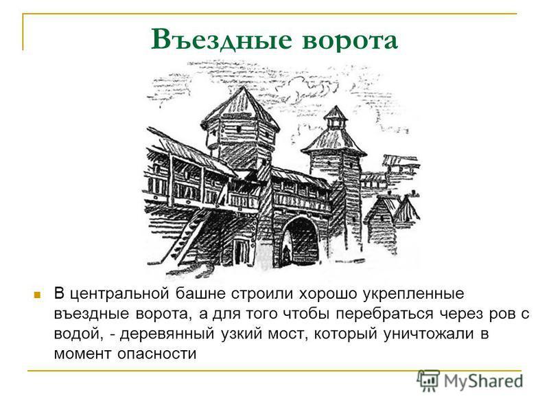 Въездные ворота В центральной башне строили хорошо укрепленные въездные ворота, а для того чтобы перебраться через ров с водой, - деревянный узкий мост, который уничтожали в момент опасности