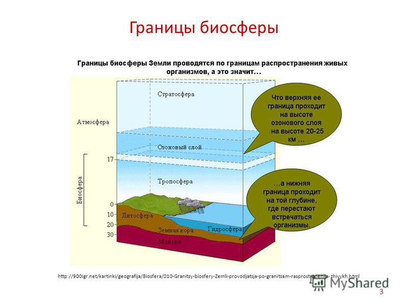 Границы биосферы 3 http://900igr.net/kartinki/geografija/Biosfera/010-Granitsy-biosfery-Zemli-provodjatsja-po-granitsam-rasprostranenija-zhivykh.html