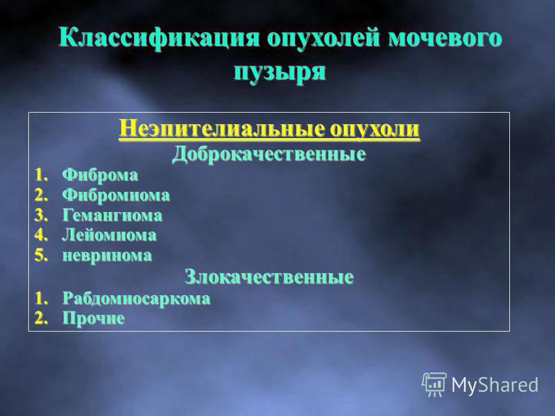 Неэпителиальные опухоли Доброкачественные 1. Фиброма 2. Фибромиома 3. Гемангиома 4. Лейомиома 5. невринома Злокачественные 1. Рабдомиосаркома 2. Прочие Классификация опухолей мочевого пузыря