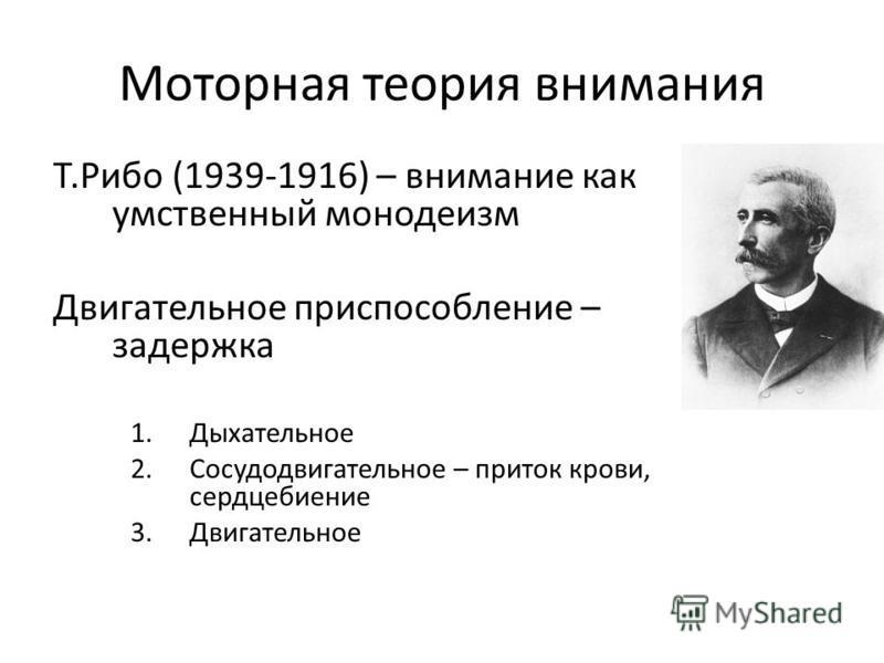 Моторная теория внимания Т.Рибо (1939-1916) – внимание как умственный монотеизм Двигательное приспособление – задержка 1. Дыхательное 2. Сосудодвигательное – приток крови, сердцебиение 3.Двигательное