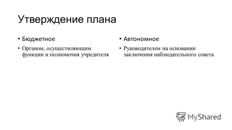 Утверждение плана Бюджетное Органом, осуществляющим функции и полномочия учредителя Автономное Руководителем на основании заключения наблюдательного совета